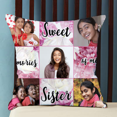 Sweet Memories Personalized Cushion for Sister