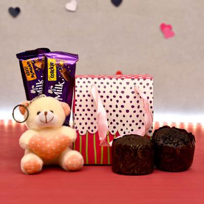 Sweet Teddy Keychain with Choco Muffins and Cadbury Bars Combo
