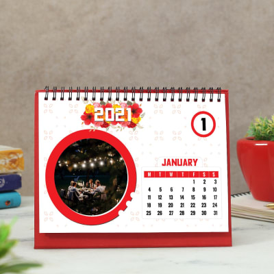 Table Calendar 2021 in Red