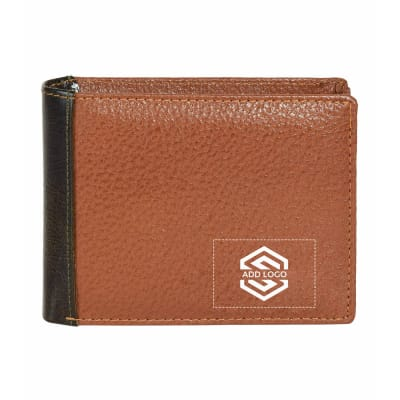 Tan Green Italian Crunch Leather Men's Wallet - Customizable with Logo