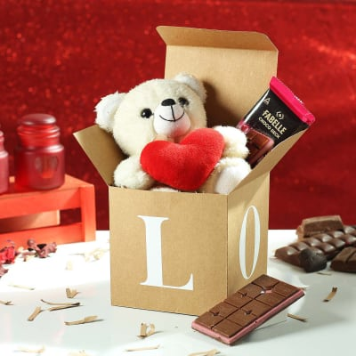 Teddy Bear and Chocolates in Love Gift Box