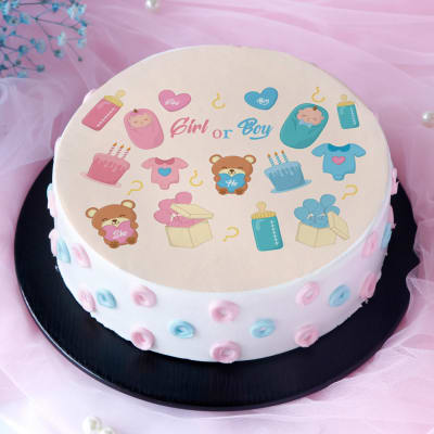Teddy with Hearts Baby Shower Poster Cake (Eggless) (1 Kg)