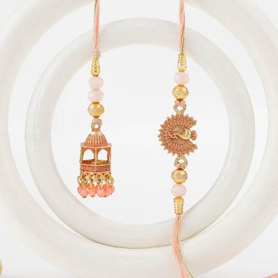 Temple Shaped Bhaiya Bhabhi Rakhi with Beads Work