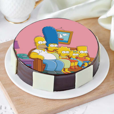 The Simpsons Family Photo Cake (Half Kg)
