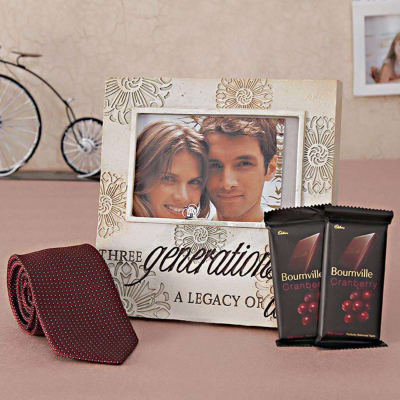Tie with Photo Frame and Chocolate Hamper