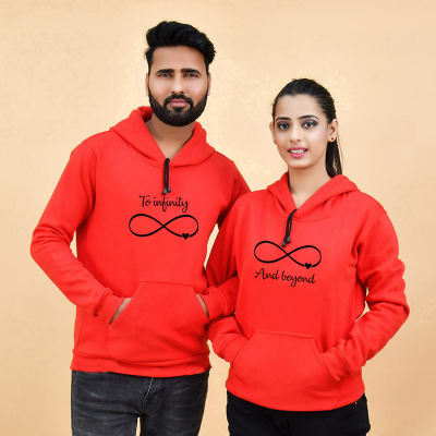To Infinity & Beyond Red Hoodies for Couples