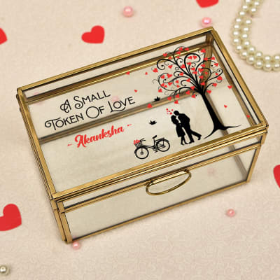 Token of Love Personalized Brass Framing Glass Jewellery Box