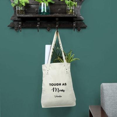 Tough As Mom White Shopping Bag