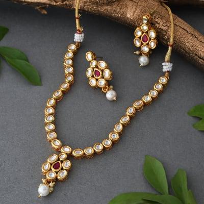 Traditional Kundan Set with Pearl Drops