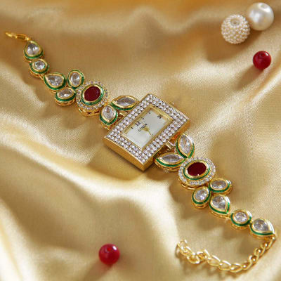 Traditional Kundan Work Wrist Watch