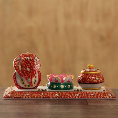 Traditional Marble Ganesha with Incense Holder & Container