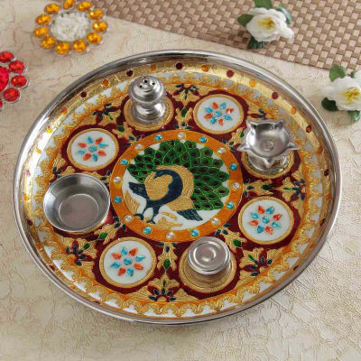 Traditional Metal Puja Thali with Meenakari Work
