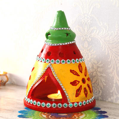 Traditional Style Painted Clay Diya