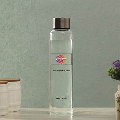 Transparent Bottle With Logo Message And Name Customisation