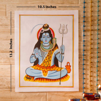 Triloknath Idol Silk Painting