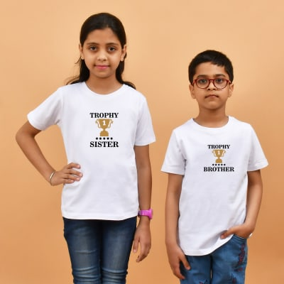 Trophy Brother & Sister White T-Shirt Combo