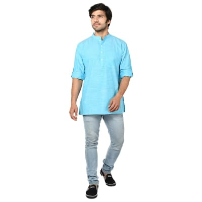 True Blue Cotton Short Kurta For Men