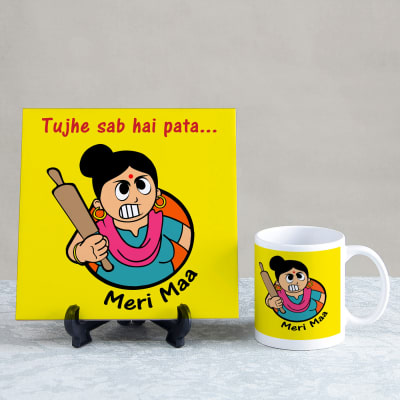 Tujhe Sab Hai Pata Meri Maa Tile Mug Combo Gift Send Home And Living Gifts OnlineJ11031132