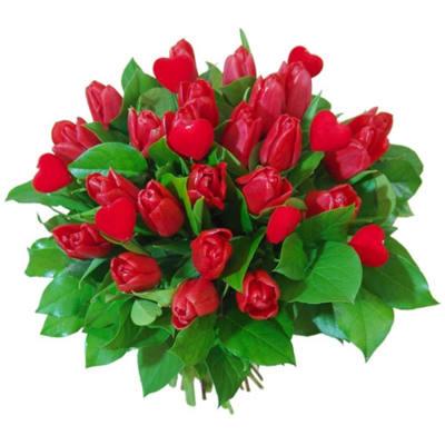 Tulips in love bouquet