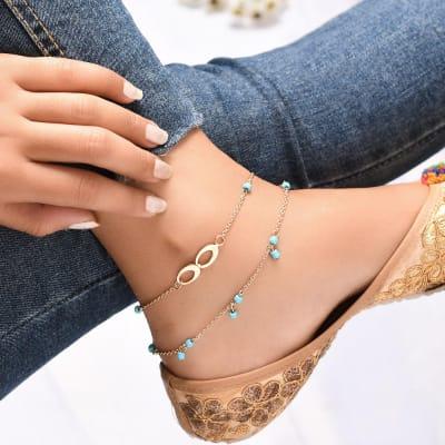 Turquoise Love Oxidised Anklet
