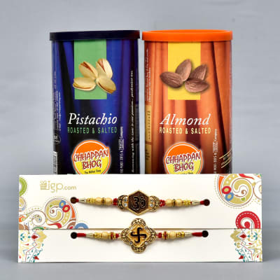 Two Beads Rakhis With Almonds And Pistas