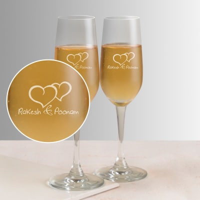 Two Hearts One Soul Personalized Set Of Champagne Gles
