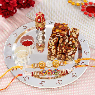Send rakhi to vadodara online rakhi gifts delivery in vadodara two rakhis with silver om thali and sugar free anjeer sweets negle Image collections