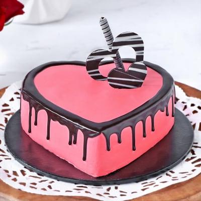 Groovy Order Valentine Strawberry Heart Cake Half Kg Online At Best Price Funny Birthday Cards Online Inifofree Goldxyz