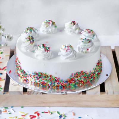 Vanilla Cake (Eggless) with Rainbow Sprinkles (Half Kg)