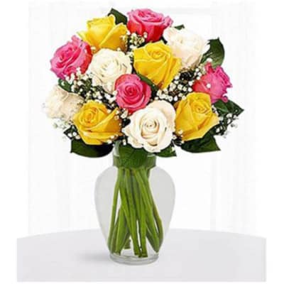 Vase Of 12 Multi Colored Roses