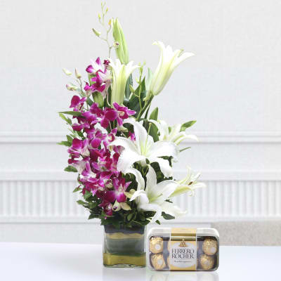 Vase of 5 Purple Orchids & 3 Lilies with 16 Pcs Ferrero Rocher Box