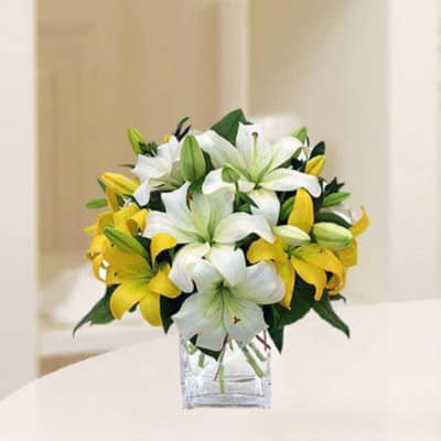 Vase of 6 White and Yellow Lilies