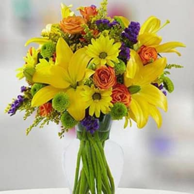 Vase Of Bright Flowers