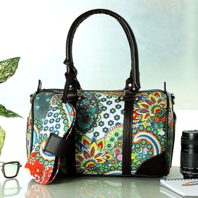 Vibrant Botanical Design Duffle Bag with Purse