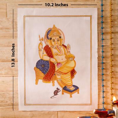 Vighneshwara Idol Silk Painting