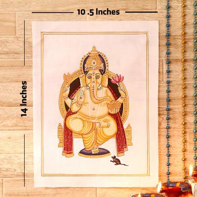 Vinayaka Gold Idol Silk Painting