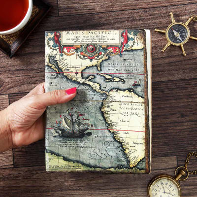 Vintage notebook with world map design cover and handmade paper vintage notebook with world map design cover and handmade paper gumiabroncs Images