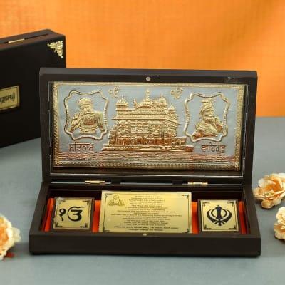 Waheguru Gold & Silver Plated Charan Paduka in Box