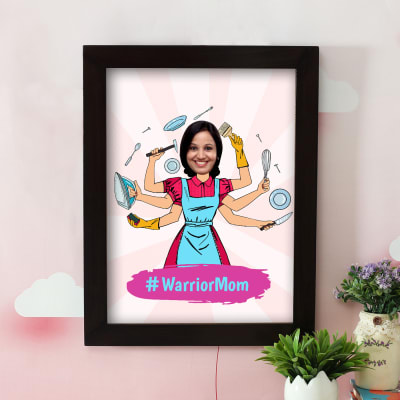 Warrior Mom Personalized Caricature Frame