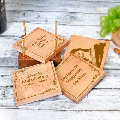 Warrior Mom Personalized Wooden Coasters with Stand (Set of 4)