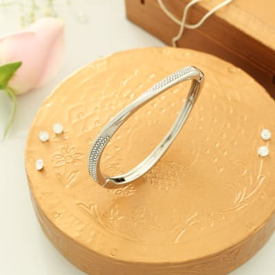 Wave Shaped Silver Plated Bracelet