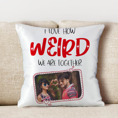 Weird Together Personalized Photo Satin Pillow
