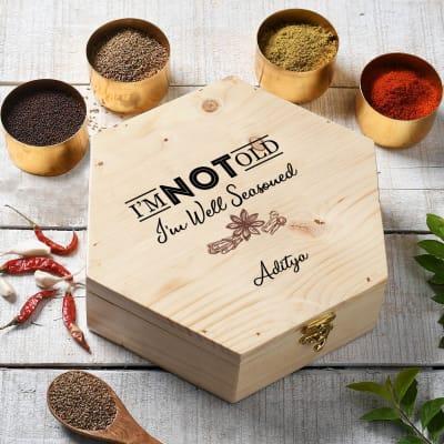 Well Seasoned Personalized Wooden Masala Box