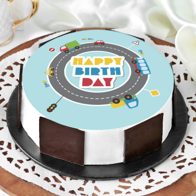 Wheels On GO Birthday Cake (Eggless) (1 Kg)