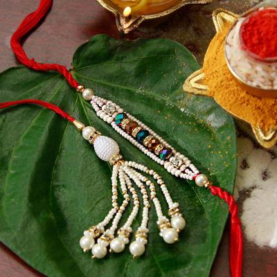 White Beads Bhaiya Bhabhi Rakhi