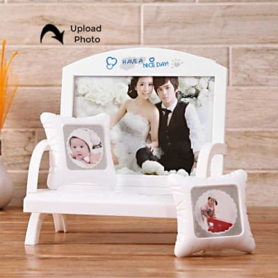 White Bench with Cushions Personalized Photo Frame: Gift/Send Home ...