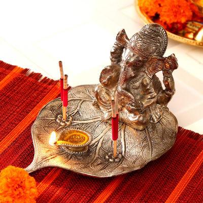White Metal Ganesha Diya