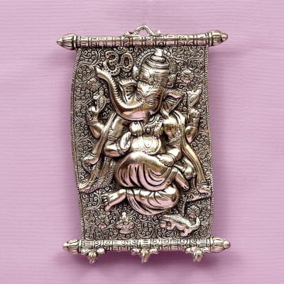 White Metal Ganesha Keychain Holder