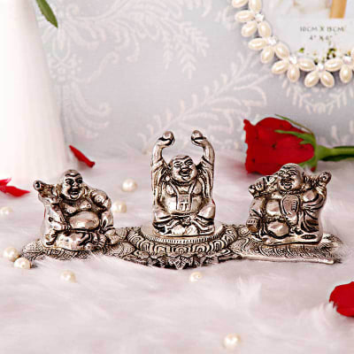 White Metal Set of 3 Laughing Buddha