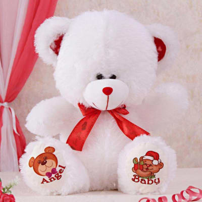 White & Red Teddy Bear